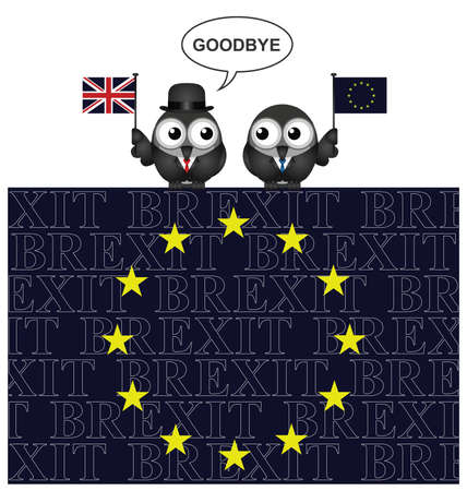 referendum: United Kingdom saying goodbye to European Union membership resulting from the June 2016 referendum perched on an EU flag with Brexit text overlaid