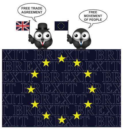 autonomia: negociaciones de salida del Reino Unido con la Uni�n Europea como resultado de la consulta de junio de el a�o 2016 se alza sobre una bandera de la UE con el texto superpuesto Brexit