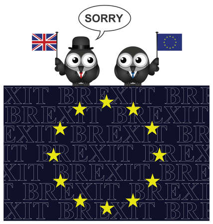 referendum: United Kingdom saying sorry for leaving the European Union after the June 2016 referendum perched on an EU flag with Brexit text overlaid