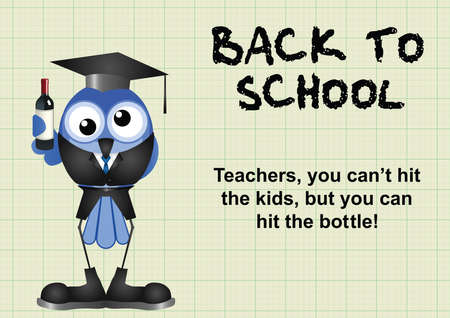 go back: Comical reluctant inebriated teacher having to go back to school on graph paper background Illustration