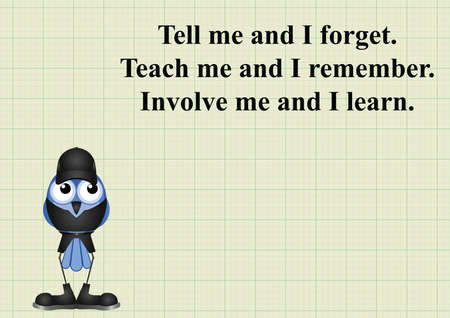 involve: Involve me and I learn quotation on graph paper background with copy space for own text Illustration