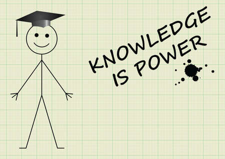 knowledgeable: Knowledge is power message on graph paper background with copy space for own text Illustration