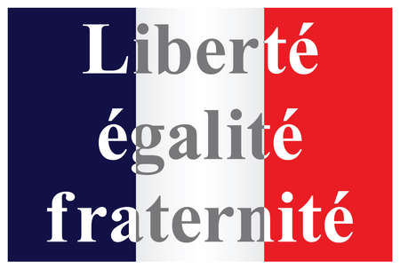 fraternity: The French Republic flag text translation liberty equality fraternity isolated on white background