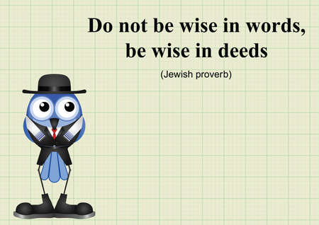 deeds: Be wise in deeds Jewish proverb on graph paper background with copy space for own text Illustration