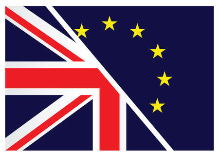 liberation: United Kingdom exit from the European Union resulting from the June 2016 referendum with the Union Jack and European Union flags splitting apart
