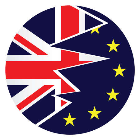 ciao: United Kingdom exit from the European Union resulting from the June 2016 referendum with the Union Jack and European Union flags splitting apart