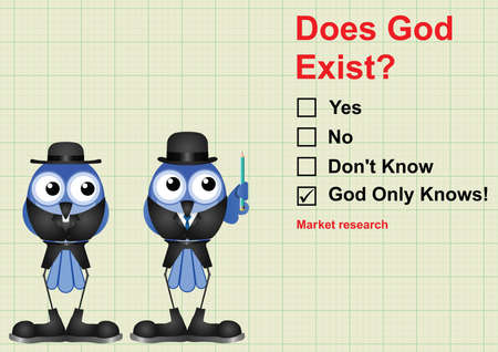 surveyed: Does God exist market research questionnaire on graph paper background with copy space for own text
