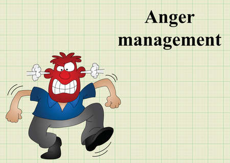 incensed: Anger management on graph paper background with copy space for own text Illustration