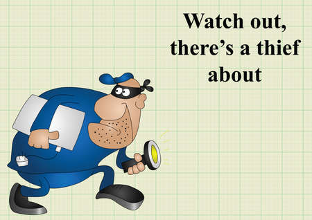 crook: Watch out there is a thief about on graph paper background with copy space for own text
