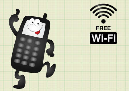 mobile telephone: Comical mobile telephone and free wifi connection on graph paper background with copy space for own text