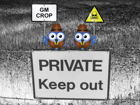 gm: Farmers with different views regarding the growing of GM genetically modified crops perched on a private keep out sign Stock Photo
