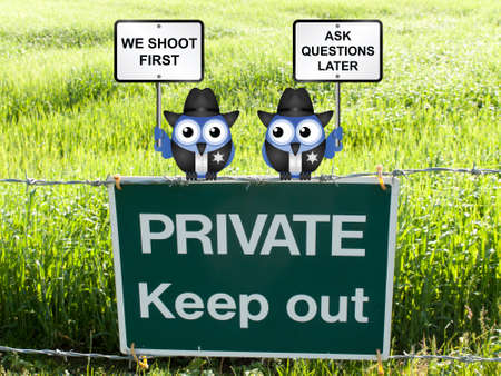 enforcement: Shoot first ask questions later USA police enforcement officers perched on a private keep out sign