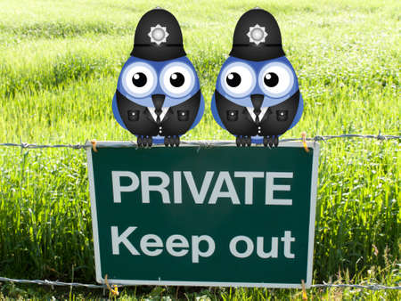 guarding: British uniformed policemen guarding private land perched on a private keep out sign Stock Photo