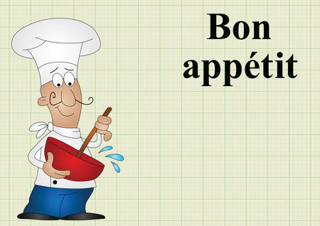 translates: Chef with bon appetit which translates as enjoy your meal on graph paper background with copy space for own text