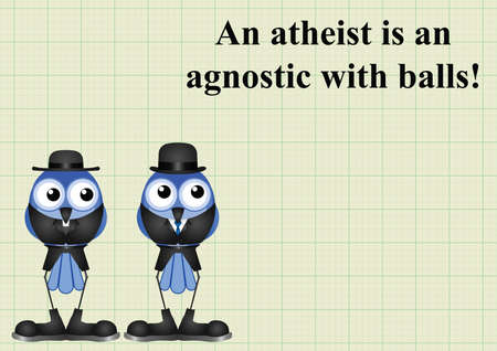cleric: Atheism saying with bird atheist and vicar on graph paper background with copy space for own text