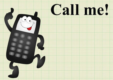call me: Comical mobile telephone and call me on graph paper background with copy space for own text Illustration