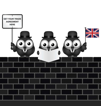 diplomatic: Comical United Kingdom government diplomatic trade delegation team advertising for new worldwide trade deals after exiting the European Union following the June 2016 referendum