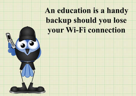 unable: Comical education backup should you lose wifi connection and be unable to use a search engine on graph paper background with copy space for own text