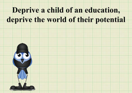 potential: Deprive a child of an education deprive the world of their potential on graph paper background with copy space for own text
