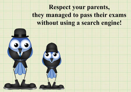 juvenile: Comical respect your parents as they passed their exams without using a search engine on graph paper background with copy space for own text Illustration