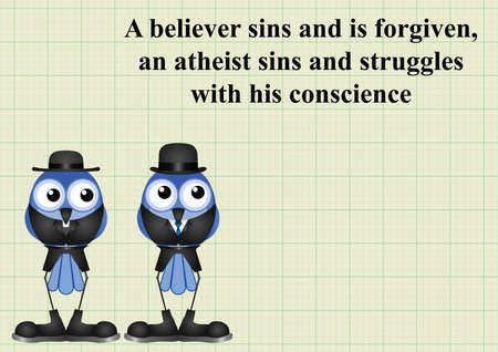 conviction: Atheism saying with bird atheist and vicar on graph paper background with copy space for own text