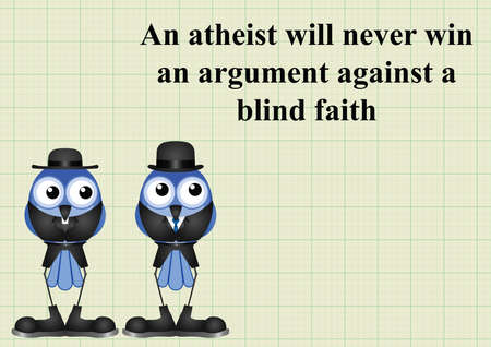 agnosticism: Atheism saying with bird atheist and vicar on graph paper background with copy space for own text