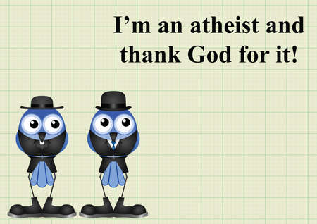 preacher: Atheism saying with bird atheist and vicar on graph paper background with copy space for own text