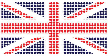 constructed: United Kingdom flag constructed from dots isolated on white background Stock Photo