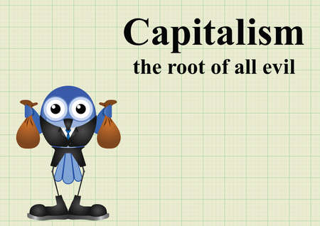 Capitalism the root of all evil with businessman holding bags of money on graph paper background with copy space for own text