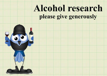 inebriated: Alcohol research on graph paper background with copy space for own text Illustration