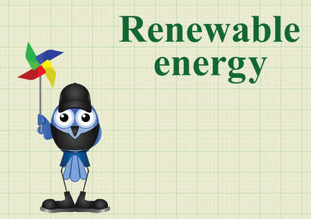 comical: Comical renewable energy with windmill on graph paper background