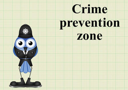 Crime prevention zone UK with policeman on graph paper background with copy space for own text Illustration