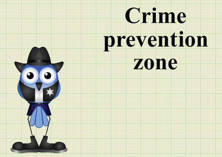 Crime prevention zone USA with sheriff on graph paper background with copy space for own text Illustration