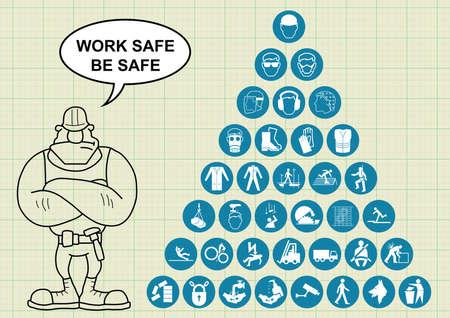 elementos de protección personal: fabricación de la construcción y la salud de ingeniería y colección de iconos relacionados con la seguridad y el constructor con caja fuerte mensaje obra es seguro en fondo de papel milimetrado Vectores