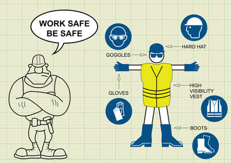 work safe: Construction manufacturing and engineering health and safety related personal protection equipment and builder with work safe be safe message on graph paper background Illustration