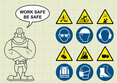 navvy: Construction manufacturing and engineering health and safety related icon collection and builder with work safe be safe message on graph paper background Illustration