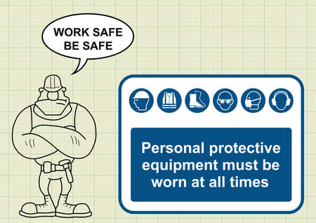 navvy: Construction manufacturing and engineering health and safety PPE sign and builder with work safe be safe message on graph paper background Illustration