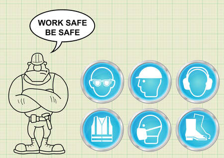 danger signs: Construction manufacturing and engineering health and safety related icon collection and builder with work safe be safe message on graph paper background Illustration