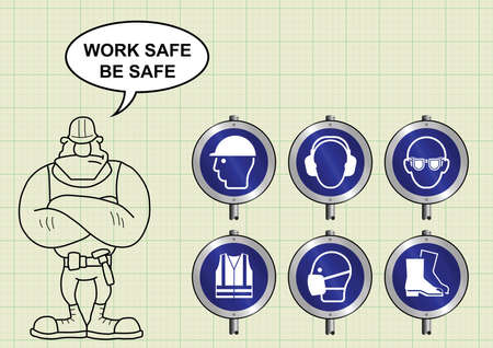 navvy: Construction manufacturing and engineering health and safety PPE signposts and builder with work safe be safe message on graph paper background