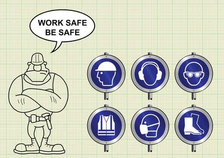 elementos de protección personal: fabricación de construcción y postes indicadores de salud y seguridad de PPE de ingeniería y constructor con la caja fuerte de trabajo sean seguros mensaje de fondo de papel milimetrado