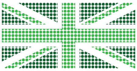 Green United Kingdom flag constructed from dots representing the environment  isolated on white background