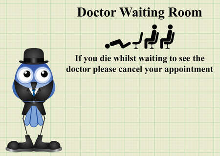 nhs: Comical doctor waiting room sign on graph paper background with copy space for own text Illustration