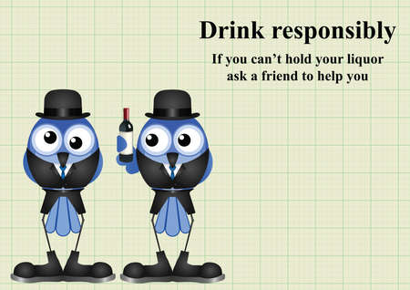 inebriated: Comical Drink responsibly message on graph paper background with copy space for own text Illustration
