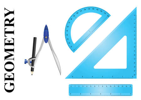 millimetre: Geometry instrument set consisting of ruler protractor, setsquare and compass on white background