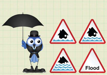 deluge: Flood alert flood warning and severe flood warning weather sign collection  on graph paper background Illustration