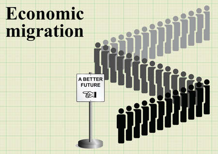 queuing: Representation of economic migrants queuing for a better future on graph paper background with copy space for own text