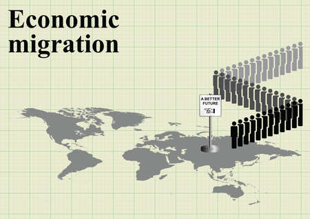 migrant: Representation of economic migrants queuing for a better future on world map on graph paper background with copy space for own text Illustration
