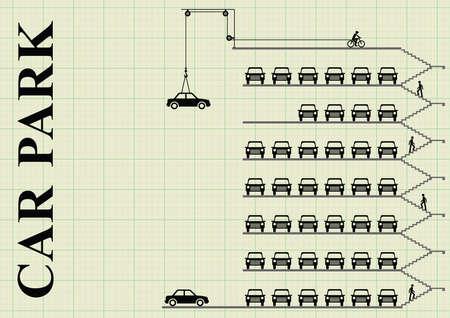 Vertegenwoordiging van de auto's geparkeerd in een milti parkeergarage op de grafiek papier achtergrond met een kopie ruimte voor eigen tekst Stockfoto - 61345602