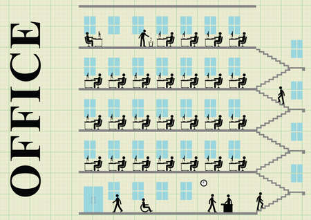 office block: Representation of employees working at their desk in an office block on graph paper background with copy space for own text