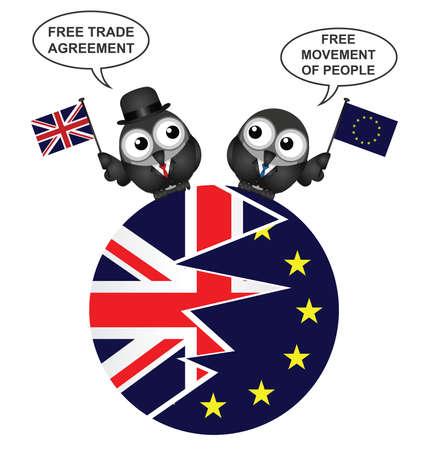 2016 年 6 月国民投票に起因分割円形のユニオン ジャックと欧州連合のフラグと欧州連合から連合王国終了